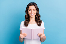 Photo Of Young Attractive Girl Happy Positive Smile Read Book Notebook Story Novel Isolated Over Blue Color Background