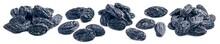 Blue Raisin Piles Set Isolated On White Background