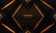 Futuristic Black And Orange Abstract Gaming Banner Design Template With Hexagon Carbon Fiber. Dark Tech Hexagonal Concept Vector Background For Game Banner And Cyber Sport Poster.