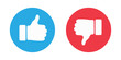 Thumbs up and thumbs down circle emblems. Like and dislike icons. illustration