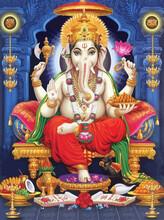 Seated Throne  Ganesha Hindu Lord Faith Mythology  Illustration