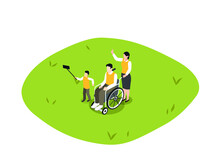 Handicapped Person Isometric Vector Concept. Handicapped Man Sitting On Wheelchair And Taking Selfie Photo With His Son And Wife At The Park