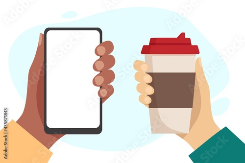 Canvastavla African hand holding phone with blank white screen