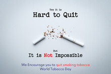 World No Tobacco Day Lettering Over White Background.
