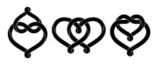 Set Of Signs Of The Union Of Two Hearts Made Of Intertwined Mobius Stripes. Stylized Symbols Of Eternal Love For Tattoo Design. Vector Isolated Illustration.
