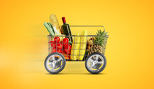 Shopping Cart With Food Delivery Service Background Concept. Shopping Basket With Vegetables Fruits And Food With Wheels Deliver Order.