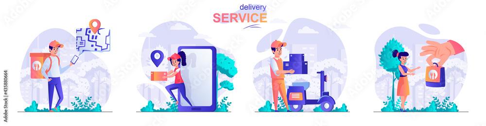 Fotografie, Obraz Delivery service concept scenes set