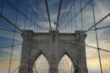 American Flag On Brooklyn Bridge, New York, USA