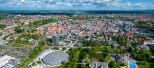 Aerial View Of The City Braunschweig (Brunswick) In Germany On A Sunny Day In Spring.