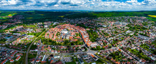 Aerial View Of The City Northeim In Germany On A Sunny Day In Spring.