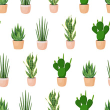 Seamless Pattern With Plants In Pots On A White Background. Vector Illustration For Fabrics, Textures, Wallpapers, Posters, Postcards.