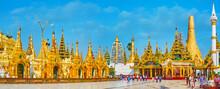 Panorama Of The Shrines In Shwedagon Zedi Daw, Yangon, Myanmar