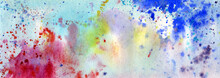 Abstract Watercolor Background With Red, Blue And Turquoise Colors. Beautiful Spots Of Watercolor On Paper.