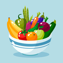 Bowl Full Of Vegetables And Fruits Vector Illustration