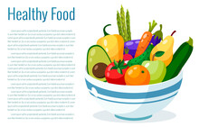 Bowl Full Of Vegetables Vector Illustration. Healthy Lifestyle Concept.