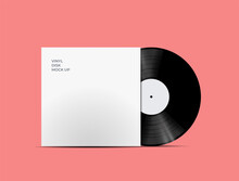 Indie Music Vinyl Disc Cover Mockup. Cover For Your Music Playlist. Realistic Vector Illustration.