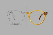 Design Sketch Draft Beige Color Eye Glasses Isolated On Gray Background, Ideal Photo For Display Or Advertising Sign Or For A Web Banner