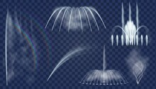 Realistic Fountain. 3d Decorative Water Jets And Curved Sprays Cascade For Park. Fountains Combination, Aqua Splashes And Streams Vector Set