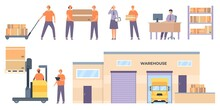 Logistics Workers. Merchandise Warehouse Building And Truck, Shelves With Parcels, Couriers, Forklifts Lift Boxes. Flat Delivery Vector Set