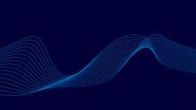 Abstract Blue Wave, Futuristic Background. Beautiful Digital Style. Vector Illustration.