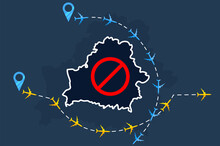 Cancellation Of Flights With Belarus Due To International Scandal With Ryanair. Changes In Course Of Aircraft Flights Due To Act Of Terrorism By Lukashenko.Banner For Articles In Magazines, Newspapers