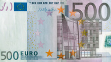 Front Part Of 500 Euro Banknote Close-up With Small Details. European Currency. Inflation, Business, Economics And Finance Theme.