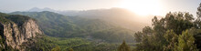 Morning Landscape Just After Sunrise. The Sun's Rays Fall On The Mountain Valley. Aerial View Of Koprulu National Park Near Ancient City Of Selge Adam Kayalar, Turkey. High Resolution Panorama