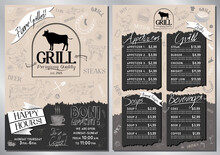 Steakhouse, Grill Menu Template - A4 Card (appetizers, Grill, Soups, Drinks)