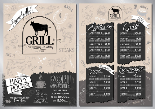 Canvas Steakhouse, grill menu template - A4 card (appetizers, grill, soups, drinks)