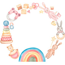 Baby Toys Wreath Clipart, Watercolor Kids Frame, Vintage Nursery Eco Toys Illustration, Newborn Teething Toy Clip Art, Card Printing, Rainbow Clip Art, Baby Shower Graphics