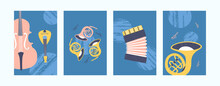 Illustrations For Art Or Music Concept In Pastel Colors. Music Instruments In Creative Style. Accordion, Violin And Pipe On Saturated Blue Background. Can Be Used For Banners, Website Designs