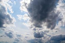 Dark Clouds In A Blue Sky Close-up.
