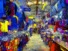 Landscape Of The Fresh Market In The Provinces Of Thailand Illustrations Creates An Impressionist Style Of Painting.