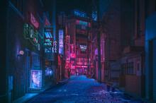 Neon Lights Streets At Night Asian Street, China. Taiwan. Japan Street