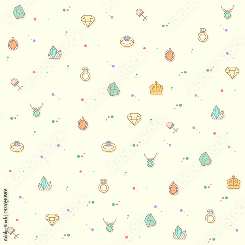 Vector illustration of a cute gem and jewelry Fotobehang