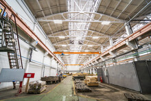 Typical Factory Workshop Inside, Production Wooden Molds And Steel Machinery Equipment, Industrial Interior Background.