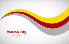 Abstract Shiny Vatican City Wavy Flag Background. Happy National Day Of Vatican City With Creative Vector Illustration