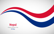 Abstract Shiny Nepal Wavy Flag Background. Happy Republic Day Of Nepal With Creative Vector Illustration