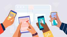 Hands Holding Smartphones. Social Network Communication On Mobile App. New Chat Messages Notification On Mobile Phone. Mobile Application Concept. Vector Flat Cartoon Illustration.