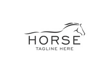 Horse Elegant Logo Symbol Vector, Simplicity Line Art Concept.