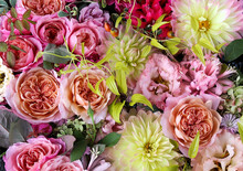 Flower Arrangement Of English Roses, Lisianthus, And Dahlias.
