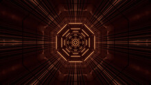 3D Rendering Of Futuristic Kaleidoscope Pattern In Brown Vibrant Color Against A Black Background