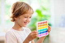 Kids With Pop It Sensory Toy. Stress Relief.