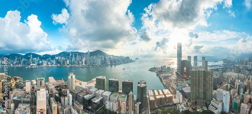 Panorama aerial view of Victoria Harbour, center of Hong Kong. Asia Commercial City