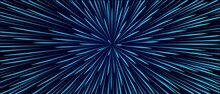 Blue Abstract Background Movement In A Circle . Starfall, The Movement Of Star Trails. Technology Design. Texture Rays Of Starbursts, Directed Lines. 3d Rendering Vector