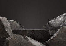 Dark Stone Podium For Display Product. 3d Illustration