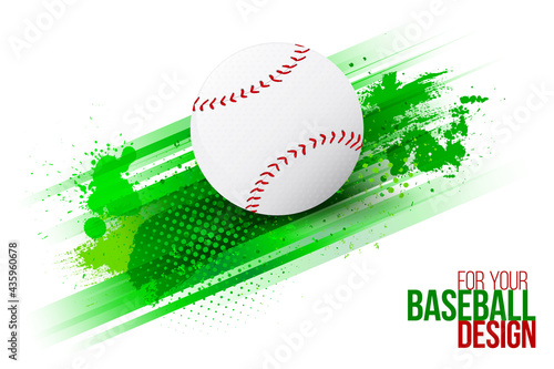Abstract grungy background with stripes and baseball ball #435960678
