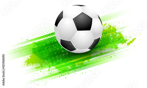 Abstract green grungy background and football soccer ball #435960690