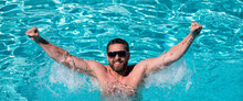 Happy Man In Swimming Pool. Summertime Vacation. Summer Man. Pool Resort. Guy In Water.