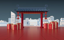 Chinese Gate With White Model Town, Translate Blessing, 3d Rendering.